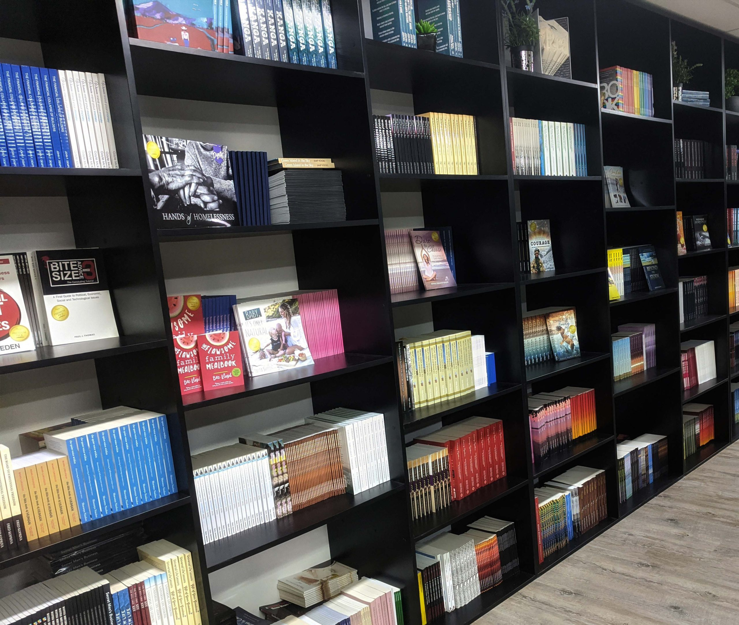 An image of the InHouse Bookstore bookshelves. The books are arranged by title.