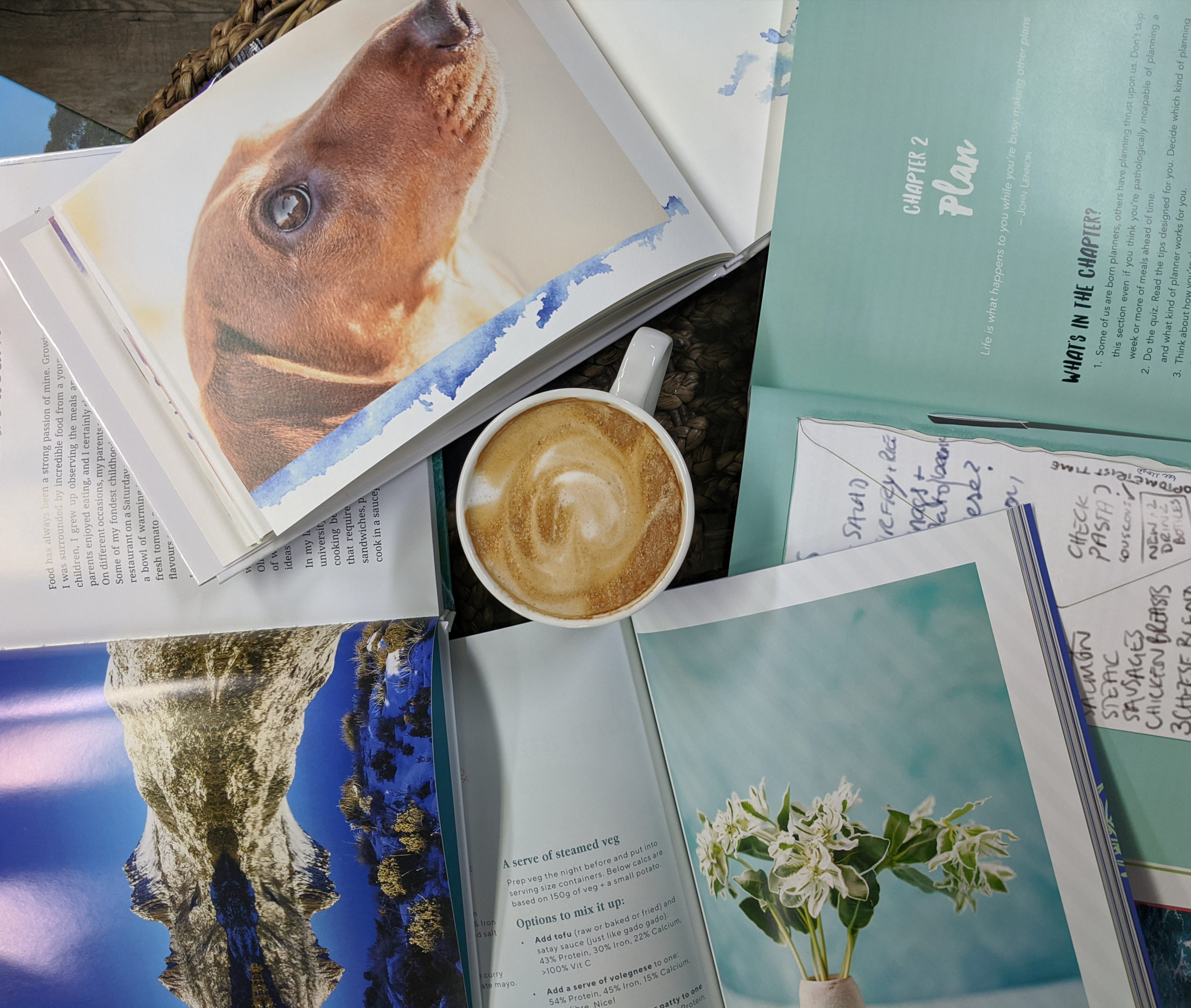 A flat lay image of a cup of coffee surrounded by open photo books. There are photos of a landscape, a dog, and a flower arrangement.